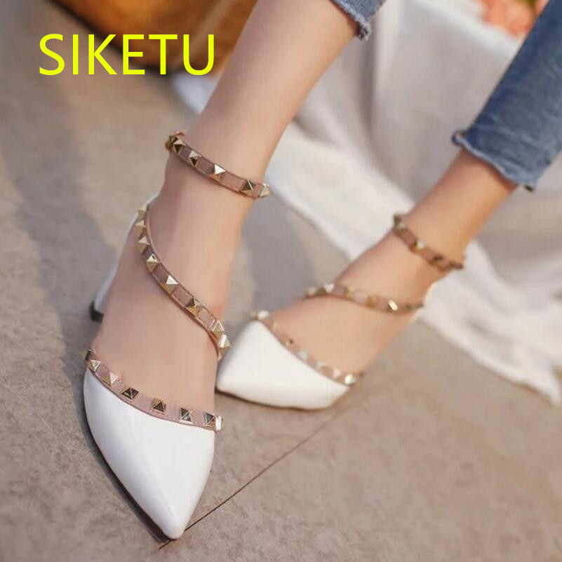 SIKETU Free shipping Spring and autumn high heels shoes women shoes Wedding Sexy patent leather round head rivet pumps g023 siketu 2017 free shipping spring and autumn women shoes fashion sex high heels shoes red wedding shoes pumps g107