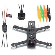 DIY 3 K Serat Karbon Mini Drone FPV QAV250 Quadcopter Bingkai Kit + Asli mt2204 + BLHeli EMAX 12A ESC + LJI 5030 Baling-Baling