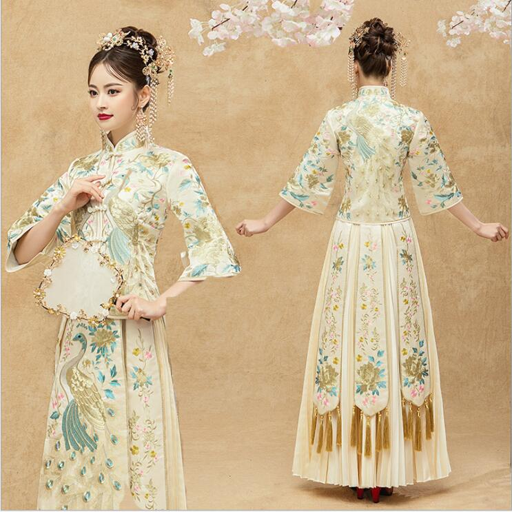 Chinese Bride Gown Robe Ethnic Kimono Show Traditional Wedding Cheongam For Oversea Asian New Elegent Champagne Wedding Dress