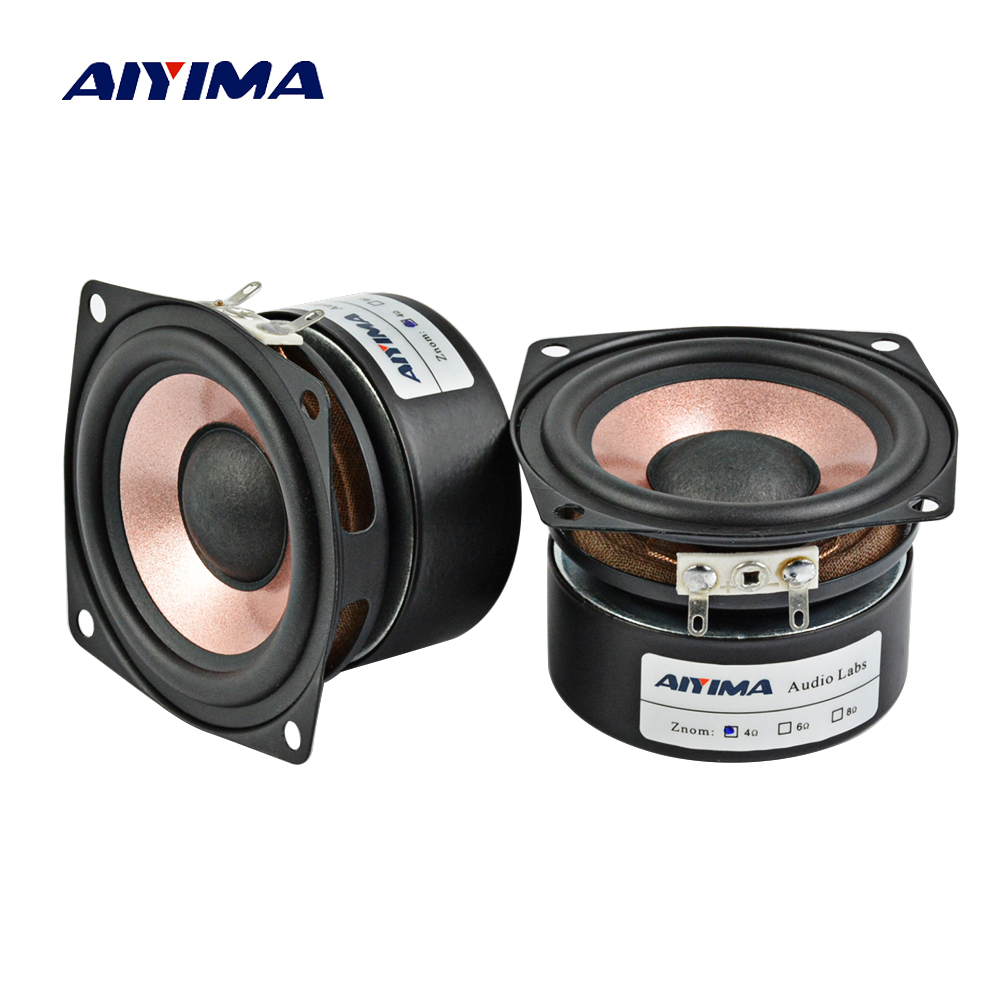 AIYIMA 2Pcs 2.5Inch Audio Speaker 4Ohm 8Ohm HIFI Desktop Full Range Speaker High Sensitivity Loudspeaker 8-15W