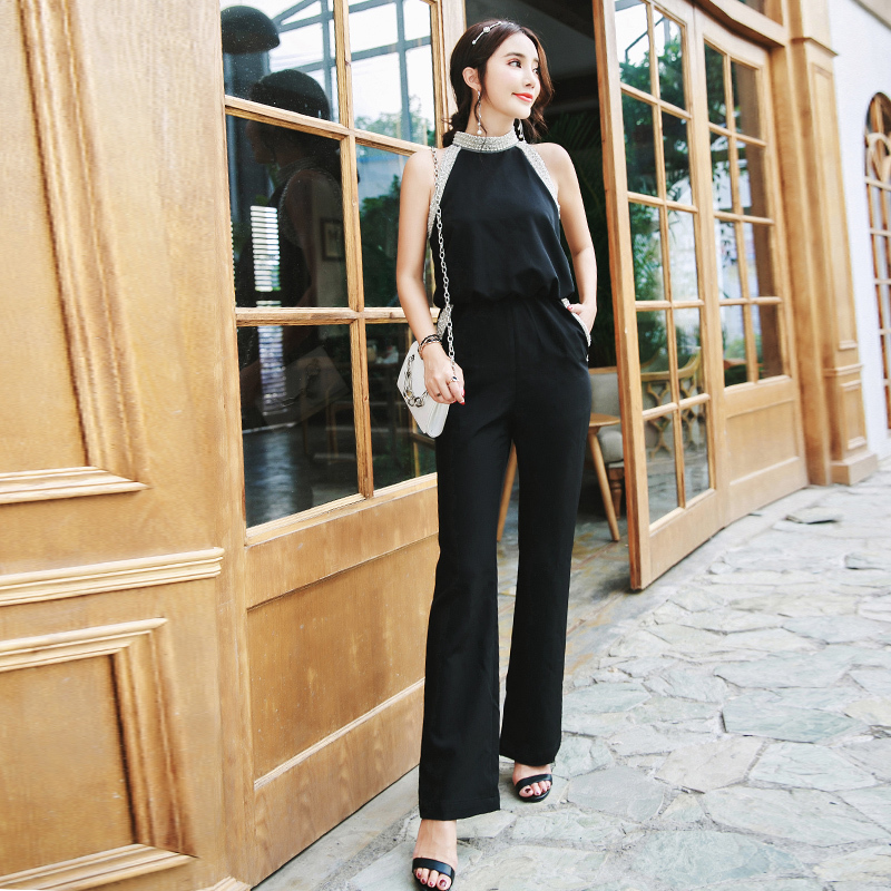 Elegant Round-neck Beading Jumpsuits Rompers Women Office Ladies Solid Black Playsuits Slim Waisted Bodysuits 2018 femme