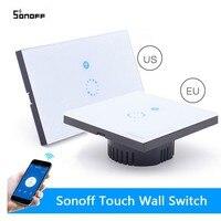 Sonoff Dotykowy Włącznik Światła US UE Inteligentne Szkło Panel Ścienny Wifi Inteligentnego Domu Bezprzewodowy Przełącznik Zdalnego Sterowania Przez przez Telefon