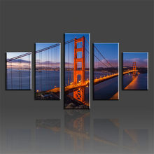 5 Panels Set Picture Canvas Modern Wall Decorative Print Painting On Canvas Bridge Decorative Wall Frameless Pinturas Poster(China)