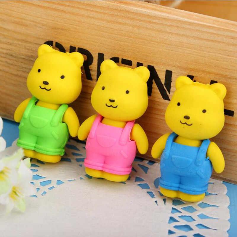 1 Pcs/lot Bib Celana Teddy Bear Penghapus Karet untuk Pensil Anak-anak Yang Dapat Dilepas Baru Mainan Hadiah Alat Tulis Kantor Sekolah