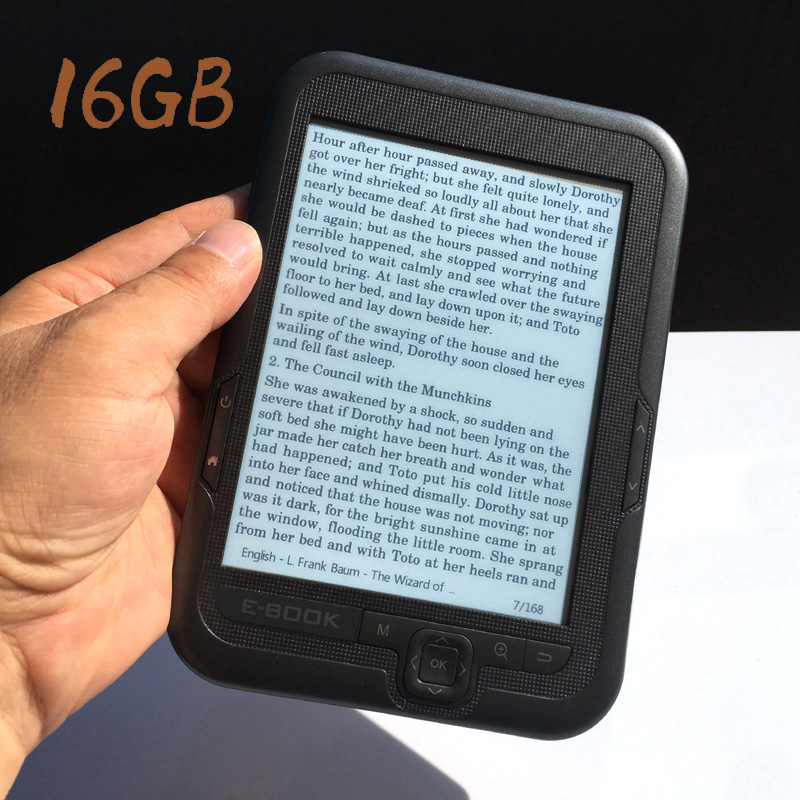 16GB Built in capacity 6 inch e book reader e ink Support micro SD card Expansion