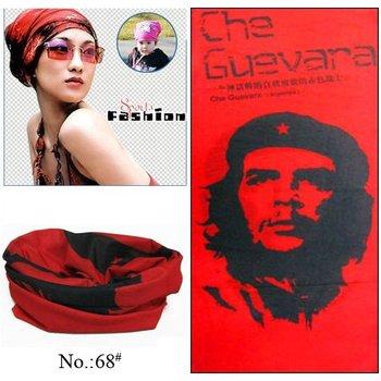 100pcs/lot Wholesale Red Hero Guevara Microfiber Multifunctional Tube Headwear Bandana For Outdoor Activities (Mixed Design OK)