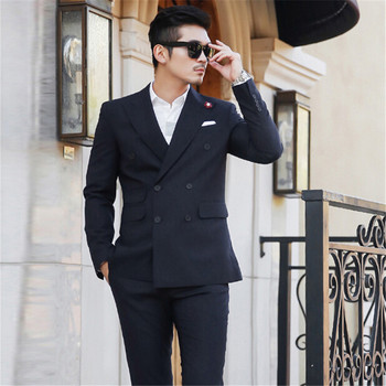 2018 Tailored Double Breasted Side Vent Slim Fit Men Suit new Mens 2 Pieces Formal Suits Groom wedding masculino (Jacket+Pants)