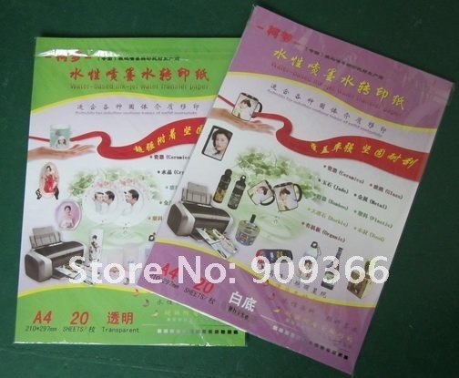free shipping,A4 size,60 pieces clear color+40 pieces white color,decal water transfer paper,water transfer printing