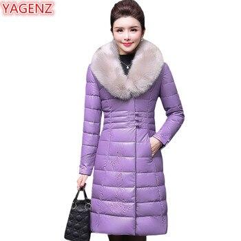 YAGENZ Womens Leather padded Coat jacket Winter Large size High quality Warm Women Parka Fashion Fur collar Cotton Long Coat 768