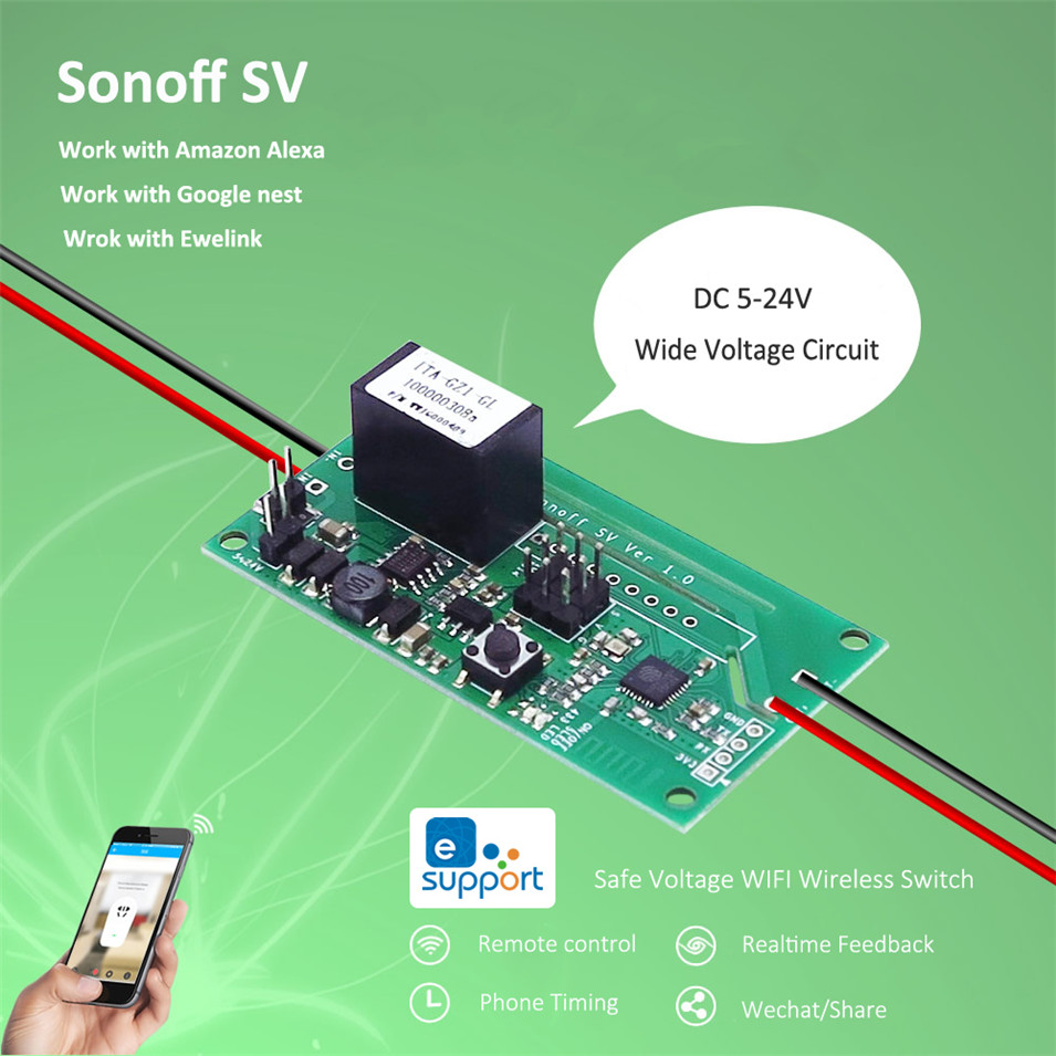 Sonoff SV Safe Voltage WiFi Wireless ON/OFF Switch Smart Home DIY Module 5-24V Control AC DC Power Work With Alexa/Nest/Ewelink