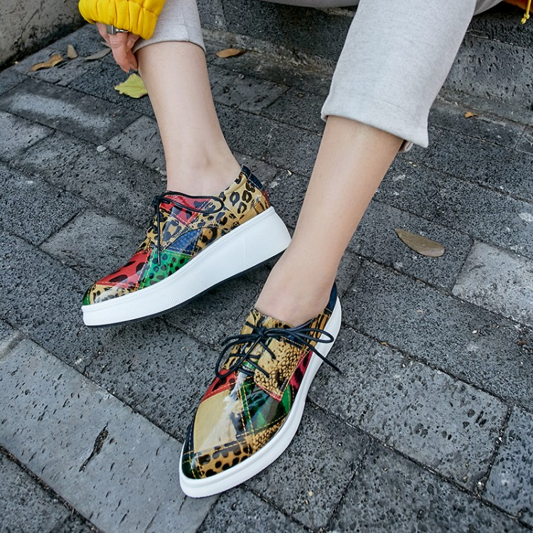 MLJUESE 2019 fashion sneakers Cow leather mixed colors lace up autumn spring loafers Vulcanize Shoes platform