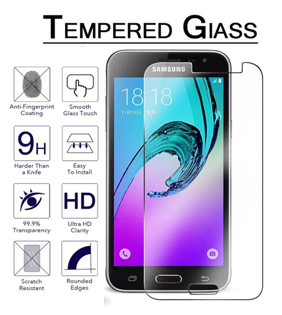 HP01 For Samsung Galaxy J1 J3 J5 J7 2016 Tempered Glass Screen Protector Safety Protective Film on J120F J320F J 1 3 5 7 6 Ace