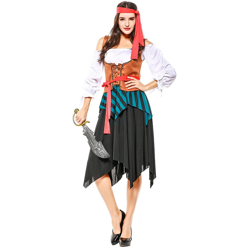 Women Pirate Costume Crew Costume Halloween Costumes Pirate Cosplay Striped Party Dress Skirts For Lady Costume Adult Dress