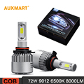 Auxmart S2 9012 HIR2 Car LED Headlight Bulb Conversion Kit Dipped Single Beam 72W 8000LM Fog Lamps 12v 24v DRL All-in-one 6500K