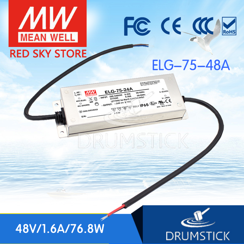 цена на Selling Hot MEAN WELL ELG-75-48A 48V 1.6A meanwell ELG-75 48V 76.8W Single Output LED Driver Power Supply A type