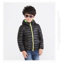 2016 Black Children s Outwear Boys Down Jacket Solid Hooded Coat Kids Parkas Kids Cotton padded