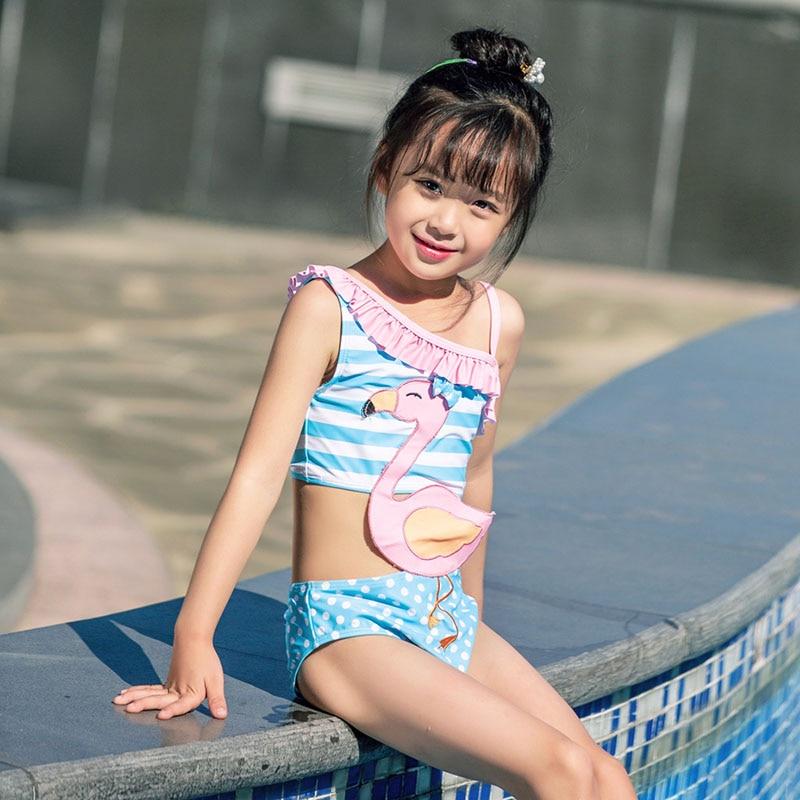 KNLPJYQ/милые купальные костюмы с фламинго для девочек, год, детские цельные купальные костюмы, детский кружевной купальник с одним плечом, бикини
