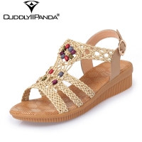 2017 Summer Cool Soft Bottom Women Wedge Sandals Genuine Leather Fashion Design Sandalias Mujer String Bead