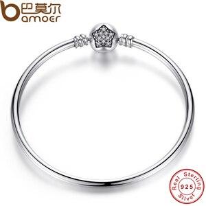 Image 4 - BAMOER autentyczne 100% 925 srebrny łańcuszek żmijka łańcuch bransoletka i bransoletka Pave gwiazda cyrkonia CZ DIY biżuteria