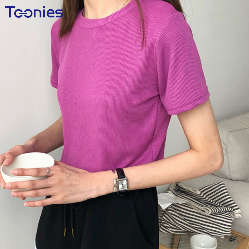 New Summer Korean All-match Knitted T-shirt Wome Casual O-neck Short Sleeved Cotton Tees Female Fashion Solid Color Slim tshirts
