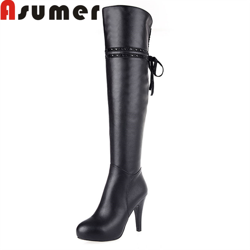 ASUMER 2018 NEW ARRIVE solid genuine leather boots for women high quality simple winter boots over the knee high heels boots morazora 2017 new arrive over the knee boots for women autumn winter boots high heels pu solid platform boots zipper