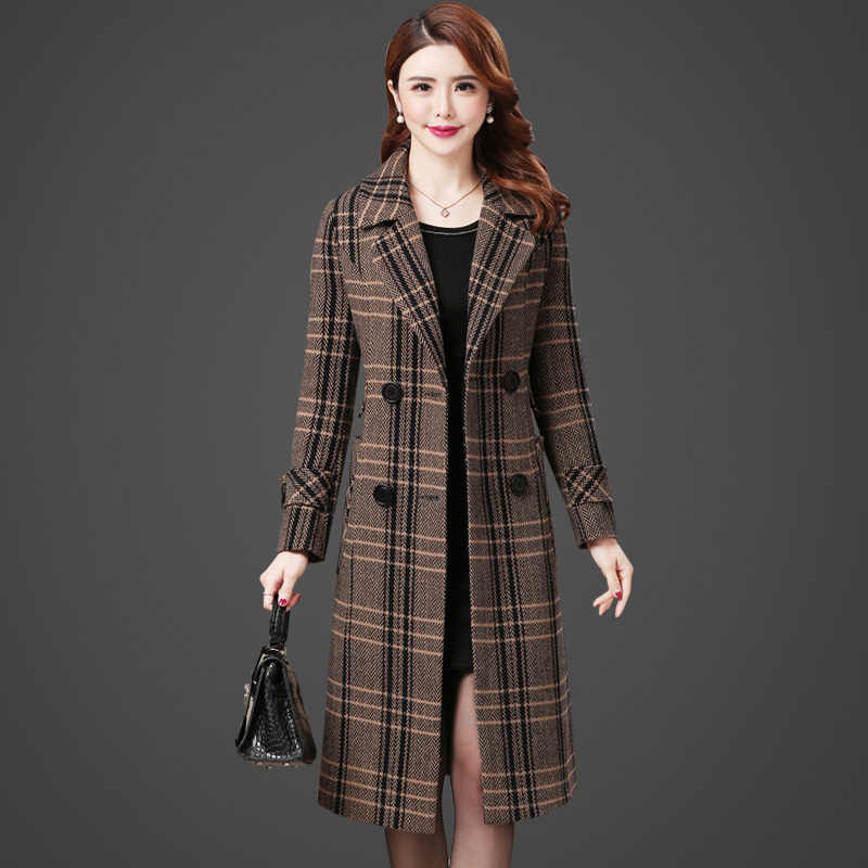 Haute couture Women Plaid woolen coat Autumn chckered jacket Korean fashion clothing temperament Long wool coats thick B4231
