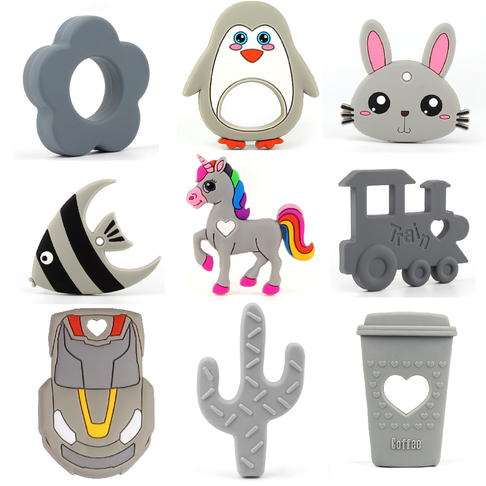 TYRY. HU Silicone jouets de dentition 10 pièces de qualité alimentaire Animal hibou éléphant Koala sans BPA pour bébé dentition mâcher charmes Silicone perles jouets