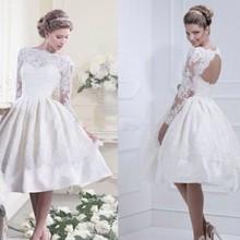 Elegant Lace Long Sleeves Tea Length Princess Wedding Dresses Gowns 2015 Destination Bridal Gowns