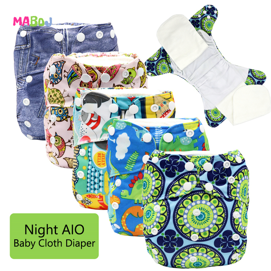 MABOJ Baby Diaper Overnight Cloth Diaper All In One Cloth Diaper Reusable AIO Sewn Inserts One Size Adjustable Nappy Waterproof