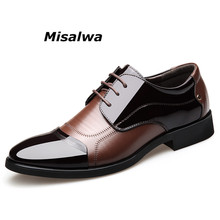 Misalwa Luxury Brand Patent Leather Men Business Wedding Dress Shoes Lace Up Breathable Oxfords Shoes Pointed Toe Zapatos Hombre heinrich the new listing brand luxury genuine leather men shoes pointed toe hasp male wedding dress shoes zapatos de hombre