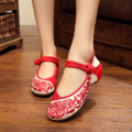 New summer Blue and white porcelain style retro fashion flower Embroidery women's flats shoes Dance shoes for ladies