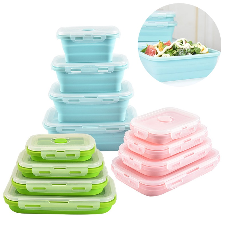 Collapsible Bento Box Food Storage Containers Set BPA Free Folding Lunch Bento Box Stackable Kitchen Organiser Microwave Safe|Lunch Boxes| |  - title=