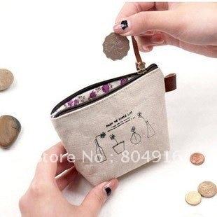 Fashion Enjoy The Simple Life Series Canvas Coins Case Coin Purse Change 10pcs Lot