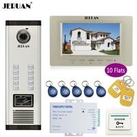 JERUAN New 7 Inch LCD Monitor 700TVL Camera Apartment Video Door Phone 10 Kit Access Control