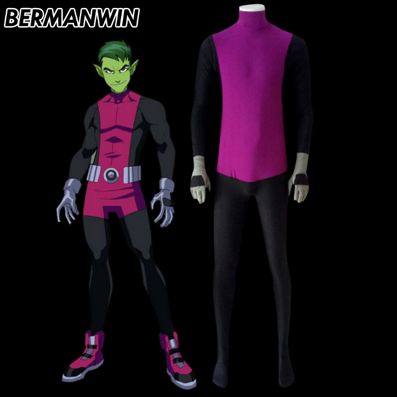 BERMANWIN High Quality Beast Boy Costume Spandex Beast Boy Zentai Suit Halloween Cosplay Costume