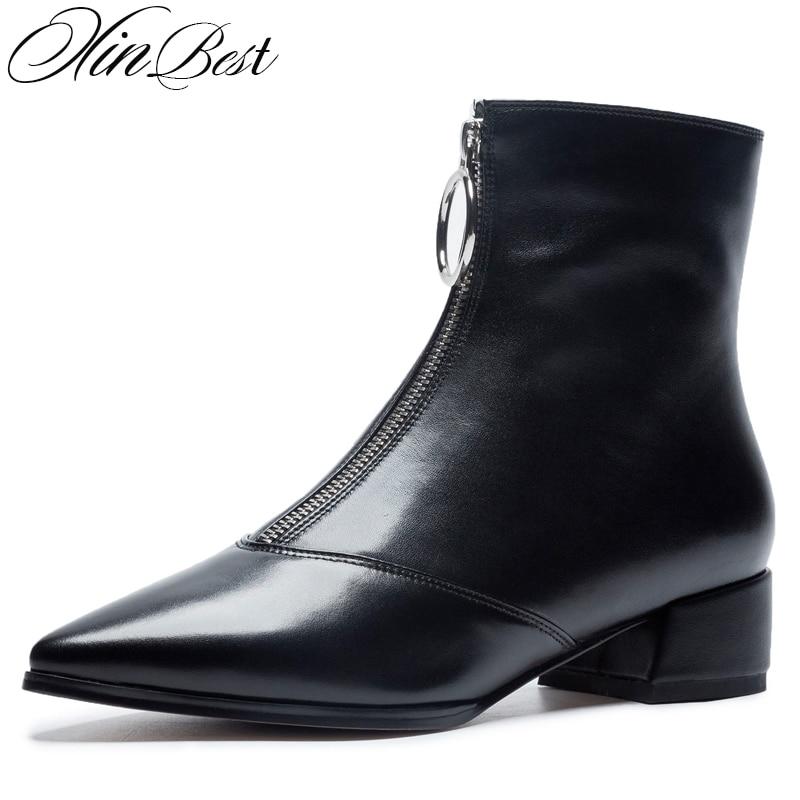 5e8ad9a50 short Cuero Plush Tobillo Niña Xinbest Para Botas short leather Mujer 2018  Genuino Black White Black Zapatos Gran Cuadrado Punta De Venta Bota Leather  Tacón ...