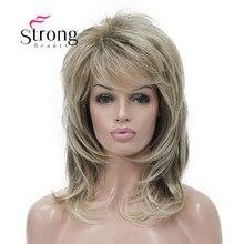 Strong beauty perruque complète synthétique classique Blonde Ombre à couches pour femmes, perruque longue Shaggy, couleur choix