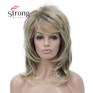 Image 1 - Strong beauty perruque complète synthétique classique Blonde Ombre à couches pour femmes, perruque longue Shaggy, couleur choix