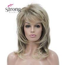 Strongbeauty longo shaggy em camadas ombre loira clássico boné peruca sintética completa perucas femininas escolhas de cor