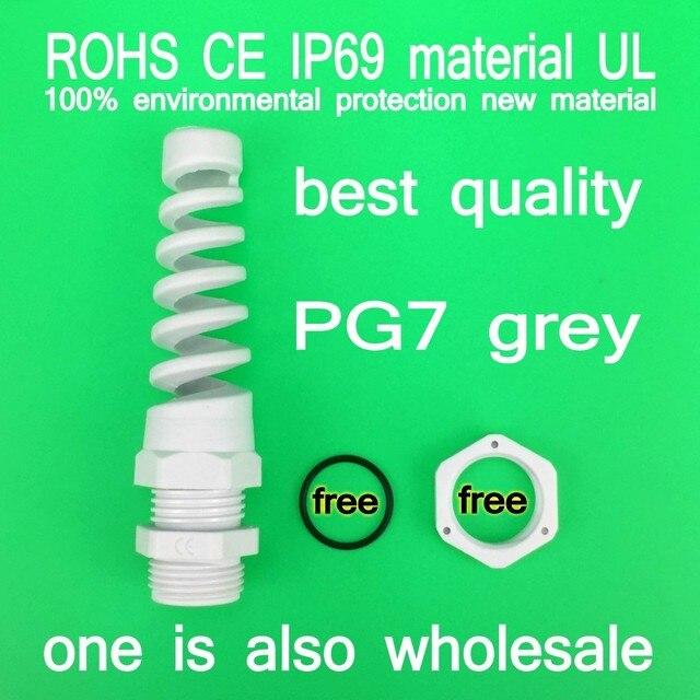 (Лучшее качество серый 3-6.5 мм) PG7 пластиковый гибкий спиральный водонепроницаемый кабельный ввод кабеля совместное материал UL IP69, не IP68 CE. ROHS