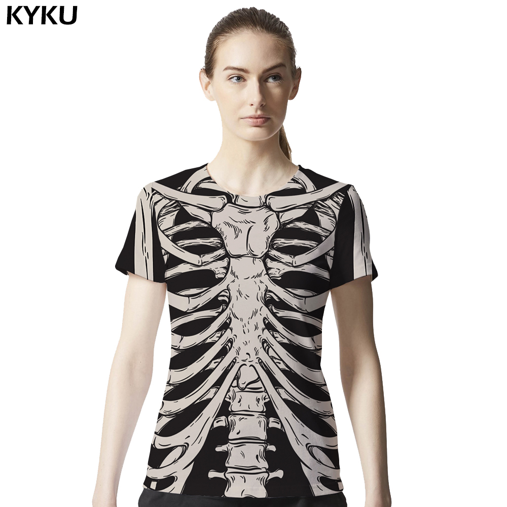 d5440b3f07f High Quality Skeleton Shirt Women Short Sleeves Womens Brand Clothing Bone Punk  T Shirt 3d Print