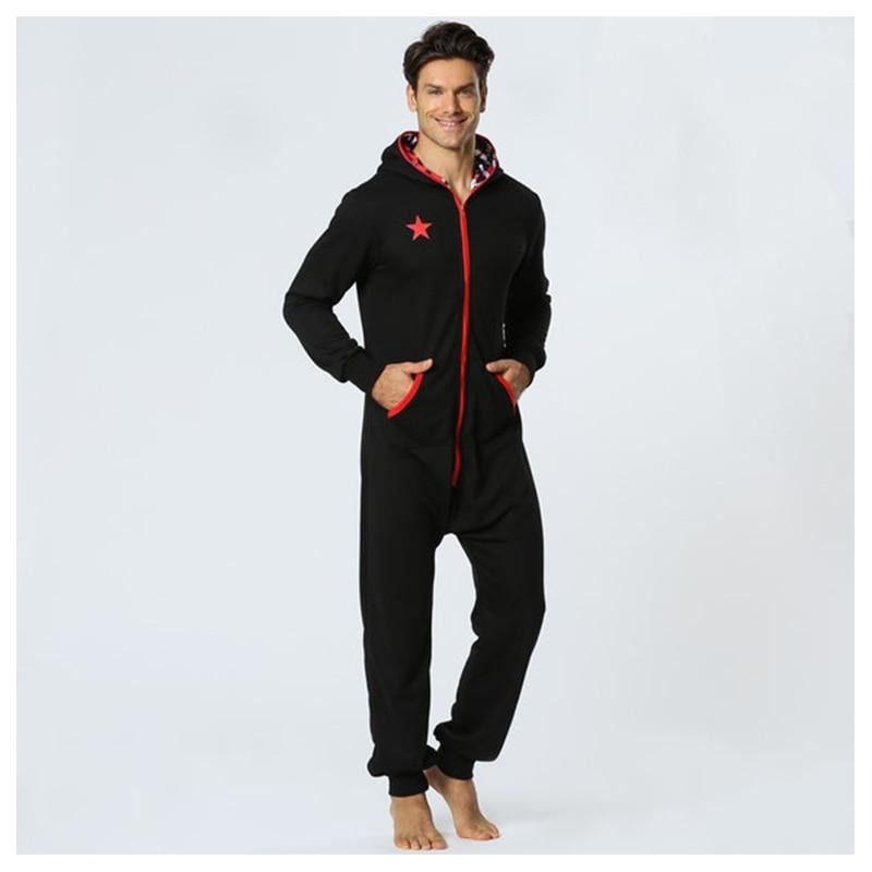 Centuryestar Men Onepiece Pajamas Onesie Sleep Lounge Sleepwear One Piece Pyjamas Male Sleepsuits Hooded Onesie For Adults Men