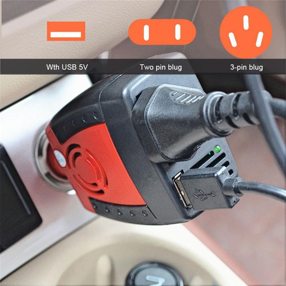 Voiture onduleur USB 2.1A 75w DC 12V AC 220V 50HZ convertisseur adaptateur avec allume-cigare chargeur de voiture pour téléphone portable