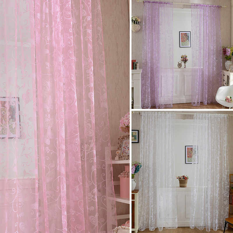 Pink Floral  Door Drape Panel Scarf Sheer Voile Butterfly Flocked Yarn Window Curtain Decal Curtain For Living Room