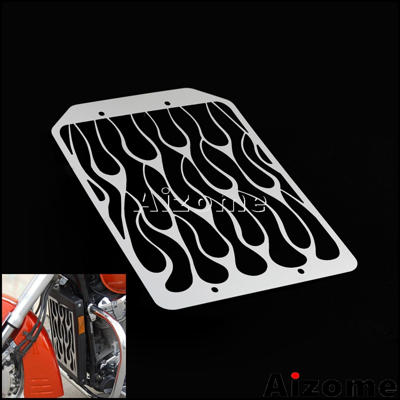 Chrome Motorcycle Radiator Grills For Kawasaki <font><b>VN1500</b></font> VN1700 Flame Radiator Guards Protector Cover image