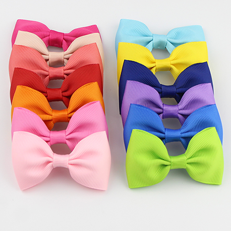 Fashion Cheering Candy Barrettes Kids Bowknots Solid Ribbon Hair Clip Bows Girls Women Hairpins Accessories HCGY0002