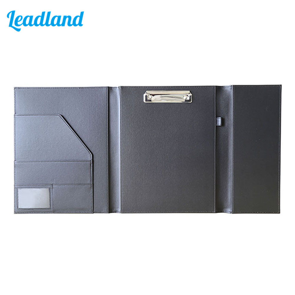 PU Leather Document File Holder Clip board Office Gift With Pen Slot Business Supplies 1674 Black