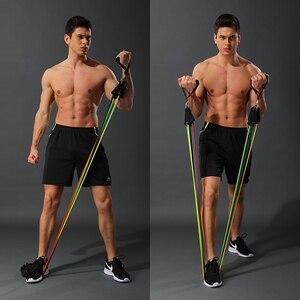 Image 1 - 11 Teile/satz Latex Widerstand Bands Crossfit Training Körper Übung Yoga Rohre Pull Seil Brust Expander Pilates Fitness mit Tasche
