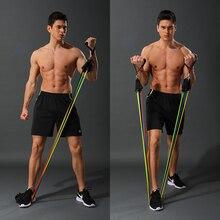 11 adet/takım lateks direnç bantları Crossfit eğitim vücut egzersiz Yoga tüpler çekme halat göğüs genişletici Pilates spor çanta ile