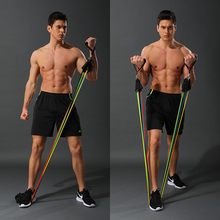 11 sztuk/zestaw lateksowe taśmy oporowe trening Crossfit ćwiczenia ciała joga rury ciągnąć linę Expander klatki piersiowej Pilates Fitness z torbą